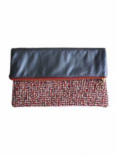 Etrala London Leather & Tweed Clutch