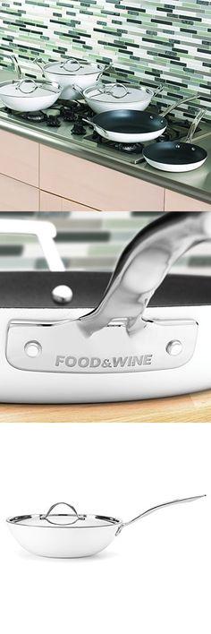 Food & Wine For Gorham Light Cast Iron 12 Inch Stir Fry Pan, White