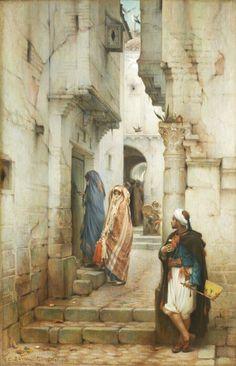 Algérie - Peintre Français Guillaume Charles Brun (1825-1908), huile sur toile , Titre : Rencontre à Constantine
