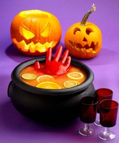 Crimson Halloween Punch w/ Frozen Ice Hands #Halloween #Punch