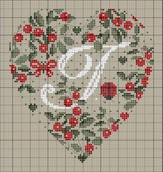 ru / Фото - Coeurs Alphabet - mornela Plus Cross Stitch Letters, Just Cross Stitch, Cross Stitch Heart, Cross Stitch Samplers, Cross Stitching, Cross Stitch Embroidery, Embroidery Alphabet, Embroidery Patterns, Stitch Patterns