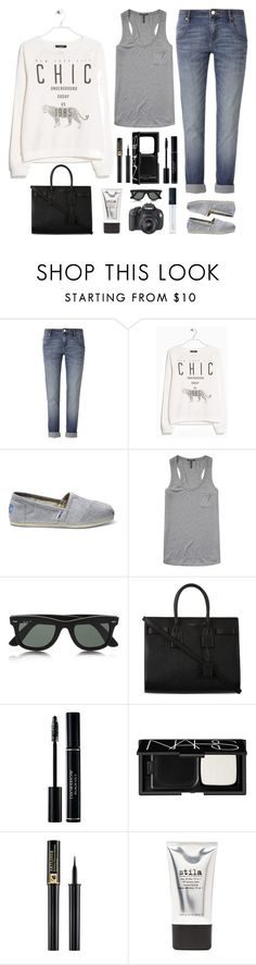 """""""Untitled #1207"""" by chelseagirlfashion ❤ liked on Polyvore featuring sass & bide, MANGO, TOMS, Scotch & Soda, Ray-Ban, Yves Saint Laurent, Eos, NARS Cosmetics, Lancôme and Stila"""