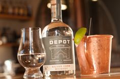 The award winning Silver Corn Whiskey served neat or in a Depot Mule