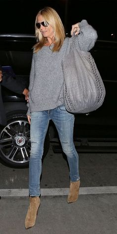 Heidi Klum Gray sweater , jeans, camel booties