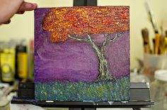 Got the urge to drag out my #oilpaints last night and ended up with this tree project. #oilpainting