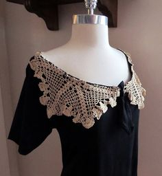 WobiSobi: Turn and old doily into a cute shirt. Black Tee turned into an off the shoulder, lace, collar shirt