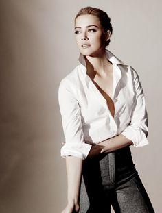 moschino white oxford  actress: amber heard