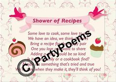 Recipe & Pantry themed Bridal Shower - Poem inserts used along side of invitations