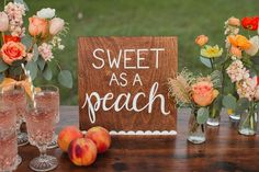 """""""Sweet as a Peach"""" chalkboard sign. Love this for a peachy birthday party."""