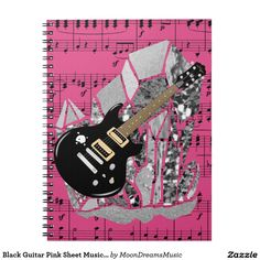 #BlackGuitar #Pink Sheet Music #SilverCrystal #SpiralNotebook by #MoonDreamsDesigns #BackToSchool #SchoolSupplies