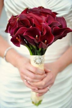 Glamorous Bridal Bouquet Comprised Of Beautiful Red Calla Lilies ~~