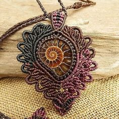 Macrame Necklace Pendant Ammonite Fossil Stone Waxed Cord Handmade | Jewelry & Watches, Handcrafted, Artisan Jewelry, Necklaces & Pendants | eBay!