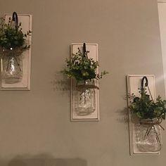 Set of Two Mason Jar Sconces with Greeney Farmhouse Decor Mason Jar Sconce, Hanging Mason Jars, Hanging Planters, Rustic Farmhouse Decor, Country Decor, Rustic Decor, Flowers In Jars, Painted Jars, Decorated Jars