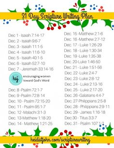 December Scripture Writing Plan