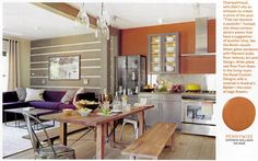 House Beautiful kitchen of the month. Love the elegant modern chandelier above the table.
