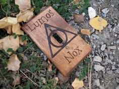 Wood Burned Harry Potter Dealthy Hallows Lumos Nox Light Switch Cover by OohhhBurn on Etsy