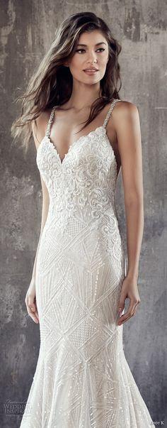 eddy k 2018 bridal thin strap sweetheart neckline full embellishment elegant fit and flare wedding dress rasor back medium train (ct192) zv -- Eddy K. Couture 2018 Wedding Dresses