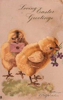 Free Vintage Clip Art – Two Fluffy Easter Chicks!