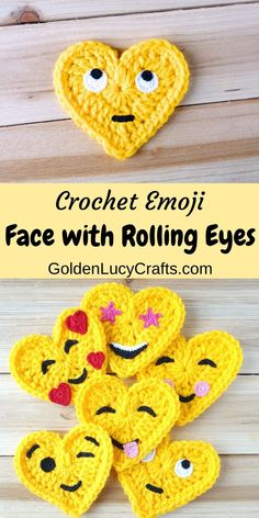 Learn how to crochet this Winking Face heart-shaped Emoji. Crochet applique, free pattern, Valentine's Day gift idea, decoration, embellishment Crochet Thread Size 10, Crochet Hook Sizes, Crochet Gratis, Cute Crochet, Diy Crochet Gifts, Crochet Applique Patterns Free, Free Pattern, Crochet Coaster Pattern, Crochet Appliques