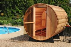 Canadian Grade A Red Cedar or Canadian white pine Saunas. off grid wood fired cedar sauna kits delivered world wide. See our full line of wood fired cedar sauna and cedar hot tub kits. Home Sauna Kit, Sauna Kits, Sauna House, Diy Sauna, Clearlight Sauna, Saunas, Design Sauna, Design Design, Interior Design