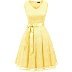 IVNIS RS90025 Women's Cocktail Dress V Neck Vintage Floral Lace Swing... ($35) ❤ liked on Polyvore featuring dresses, floral dresses, yellow lace dress, lace dress, yellow floral dress and vintage bridesmaid dresses