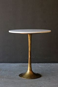 Round Brass Coffee Table With Marble Top
