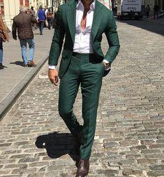 Men Wedding Suits Elegant 3 Pieces Wedding Dress Wool Dark Green Smoking Tuxedo Jacket Terno Slim Groom Suits For Men Prom Suits For Men, Dress Suits For Men, Men Dress, Dress Shoes, Shoes Heels, Indian Men Fashion, Mens Fashion Suits, Mens Suits, Groom Suits