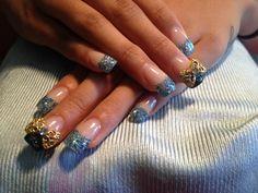 Blue glitter acrylic nails by jozy
