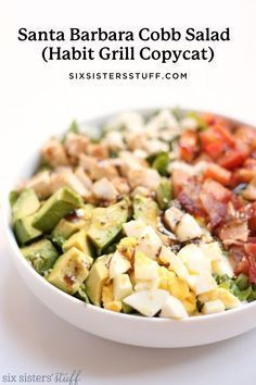 We love the Habit Grill for their delicious hamburgers, but I was pleasantly surprised to find their salads are JUST as good! Their Santa Barbara Cobb is by far my favorite, so here is our homemade copycat recipe. Main Dish Salads, Dinner Salads, Main Dishes, Side Dishes, Soup And Salad, Pasta Salad, Cobb Salad, Salad Bar, Healthy Salads