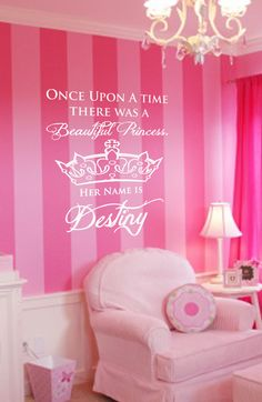 Personalized Princess Vinyl Wall Art Decal by designstudiosigns --- just like the start of their bed time story. My New Room, My Room, Girl Nursery, Girls Bedroom, Bedroom Ideas, Victoria Secret Wallpaper, Daughters Room, Pink Room, Little Girl Rooms