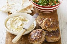 Lamb rissoles with tabouli and hommus