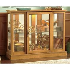 Set the stage by making your cherished collectibles a focal point in this elegant lighted curio. A mirrored .Decorate Now, Pay Later with Country Door Credit! Funky Furniture, Cabinet Furniture, Home Furniture, Freezer Organization, Organize Freezer, Oak Kitchen Cabinets, Curio Cabinets, Oak Color, Light Oak