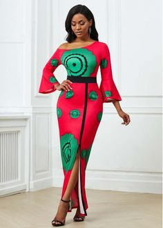 Latest African Fashion Dresses, Women's Fashion Dresses, African Dresses For Women, African Attire, Side Slit Dress, Maxi Dress With Sleeves, Shop Red Dress, Dress Sale, Nigerian Dress Styles