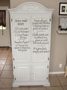 Chalk Paint Recipe.|| #DIY #craft #home #decor #decorating #furniture #paint