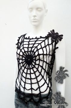 Gothic  Black Top Grunge Hippie Womens Crochet Vest Sleeveless Blouse Halloween Spider Web Costume