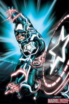 Marvel and Tron crossover art. Captain America.