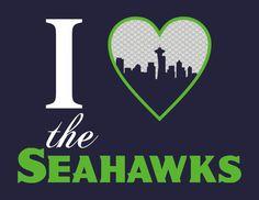 I Heart the Hawks Print, Seattle Seahawks Print, Football Print, Sports Print