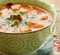 This Creamy Chicken and Vegetable Soup is one of Carrie Vitt's favorites. It keeps in the refrigerator for a few days and you can easily pack some in an insulated thermos for a hot lunch. Love the dairy free option! Chili Recipes, Paleo Recipes, Whole Food Recipes, Cooking Recipes, Dinner Recipes, Vegetable Soup Recipes, Tomato Vegetable, Tomato Soup, Veggie Soup