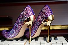 sparkly purple shoes with gold heels = hotness Purple Wedding Flats, Converse Wedding Shoes, Purple And Gold Wedding, Wedge Wedding Shoes, Bridal Shoes, Purple Heels Wedding, Purple High Heels, Purple Gold, White And Gold Heels