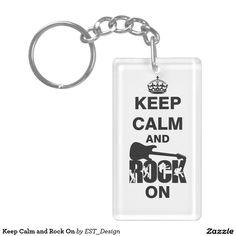 Keep Calm and Rock On Single-Sided Rectangular Acrylic Keychain