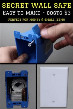 Easy to make, small, secret DIY wall safe. Perfect for money, jewelry and documents etc. Secret Walls, Secret Rooms, Secret Hiding Places, Hiding Spots, Hidden Spaces, Hidden Rooms, Secret Storage, Hidden Storage, Survival Tips
