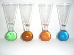Colour Bubble Bottom shot glasses set of 4 Shot Glasses, Caramel, Bubbles, Shots, Colour, Jeans, Sticky Toffee, Color, Candy
