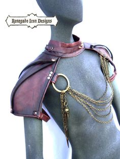 Shoulder armor Epaulettes Leather post apocolyptic by Renegadeicon