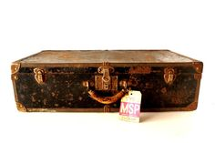 Vintage Black Metal Suitcase / Luggage with Metal by ThirdShift