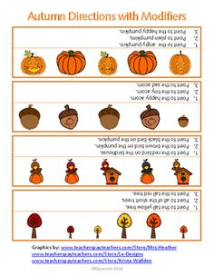 "Here is a worksheet/picture page with an autumn theme to address following directions with modifiers. This single page can be laminated or placed in a page protector for use with speech therapy language groups or during individual sessions. This can also be used as a supplement to the ""Following Directions"" subtest of the CELF to obtain present level of performance.You may also like my other Following Directions Freebie PagesI hope you enjoy this Freebie and I look forward to your…"