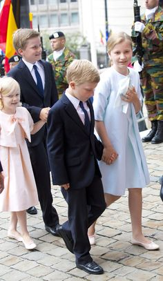 Princess Elisabeth, Duchess of Brabant, Princes Gabriel and Emmanuel and Princess Eleonore of Belgium attend National Day Te Deum service July 21, 2014-