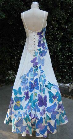Hand Painted 80% Hemp 20% Silk Jacquard Wedding Dress