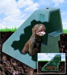 The Underground Dog House - has natural temperature control!  Hmmm... this looks interesting and kind of makes sense to me because it's cooler underground!