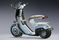 Never designed a scooter before. Here is my take on this classic. Front wheel drive, electric. All of the drive systems are enclosed in a front hub (suspension, motor, brakes). More views soon.