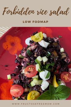 My attempt at something different for a make ahead, low FODMAP salad to take to a picnic. This Forbidden rice salad is super nutritious, low fat, high fiber, gluten free and soooo tasty! I love it for my lunches during the week.